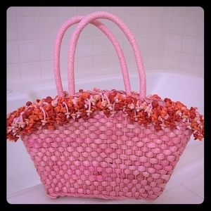 Handbags - Wicker bag shades of pink orange NEW